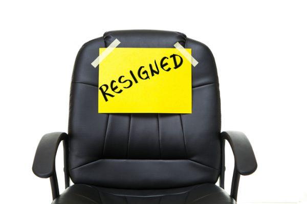 resign, resignation, quit, leave, depart