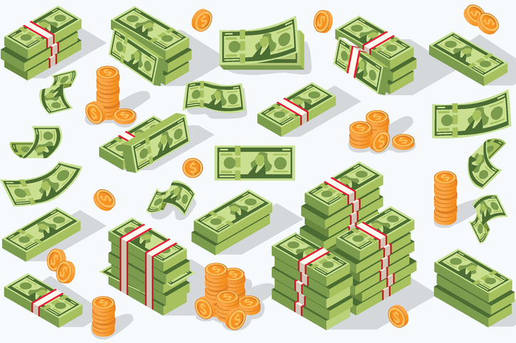 Money currency vector illustration. Various money bills dollar cash paper bank notes and gold coins. Collection of cash heap pile and currency stack vector set.