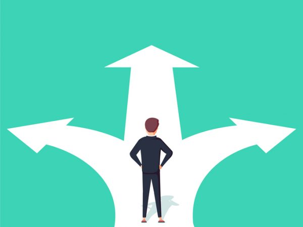 Business decision concept vector illustration. Businessman standing on the crossroads with two arrows and directions. Eps10 vector illustration.