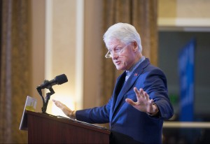 DUBUQUE, IA - JANUARY 07:  Former President Bill Clinton campaigns for his wife, Democratic presidential candidate Hillary Clinton, during a rally at the Hotel Julien on January 7, 2016 in Dubuque, Iowa. Bill Clinton made two campaign stops in the state today. It was the first time he has campaigned in the state without his wife during this election cycle.  (Photo by Scott Olson/Getty Images)