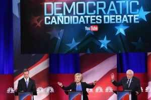 CHARLESTON, SC - JANUARY 17:  Democratic presidential candidates Martin OMalley (L), Hillary Clinton (C) and Senator Bernie Sanders (I-VT) participate in the Democratic Candidates Debate hosted by NBC News and YouTube on January 17, 2016 in Charleston, South Carolina. This is the final debate for the Democratic candidates before the Iowa caucuses.