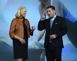 IBM Chairman, President and CEO Ginni Rometty (L)  with Under Armour Founder and CEO Kevin Plank at keynote for Consumer Electonics Show in Las Vegas. Photo: Ethan Miller/Getty Images