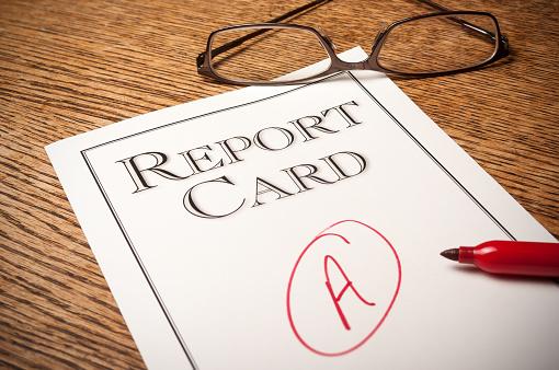 report card, report, a, f, grade, glasses, desk