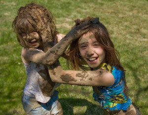 mud fight messy kids