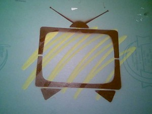 television TV set grafitti