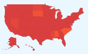 "Google's flu trends map shows ""high"" and ""intense"" flu activity across the U.S."
