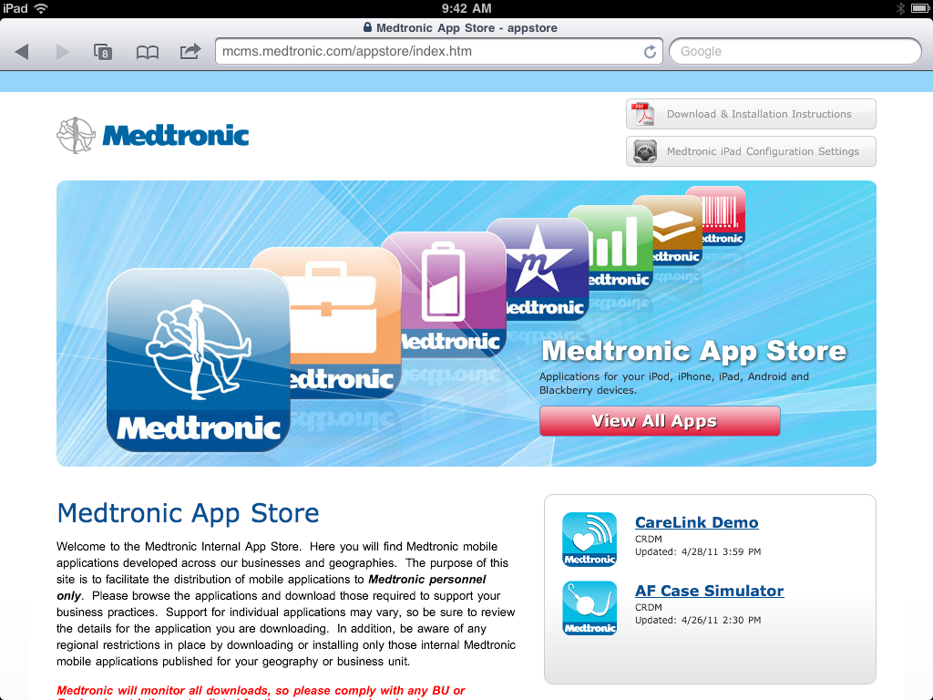Apple: Medtronic has developed 175 iPhone and iPad apps for employees to use