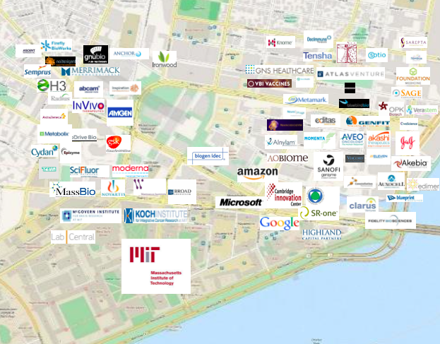 A nifty map of life sciences companies in Cambridge's Kendall Square