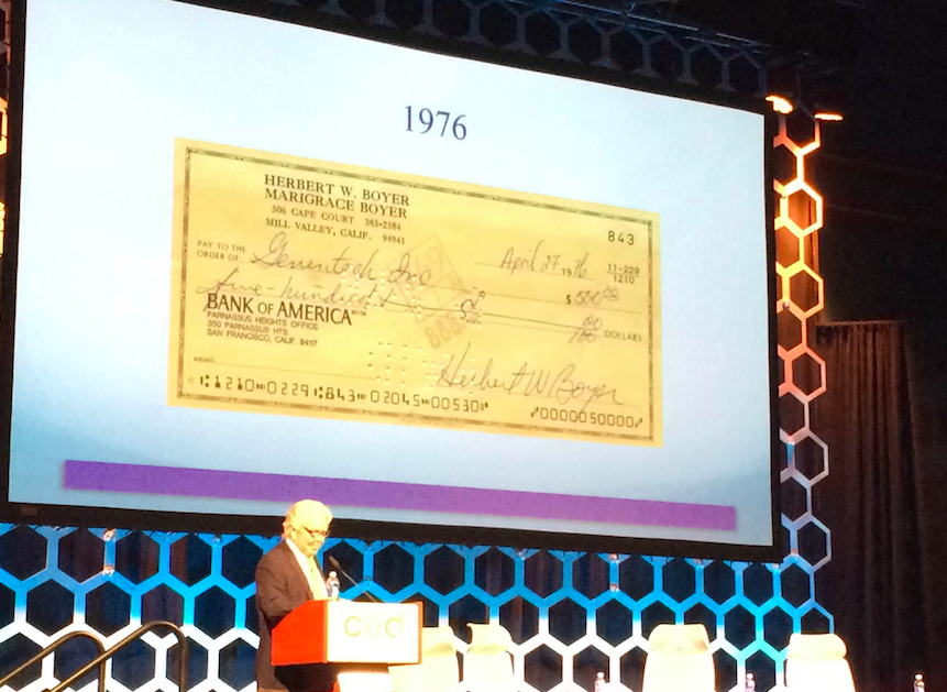 Still valid? Here's Herb Boyer's $500 check that helped launch Genentech #CEDLSC15