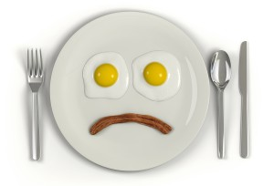 Cholesterol plate of food sad face