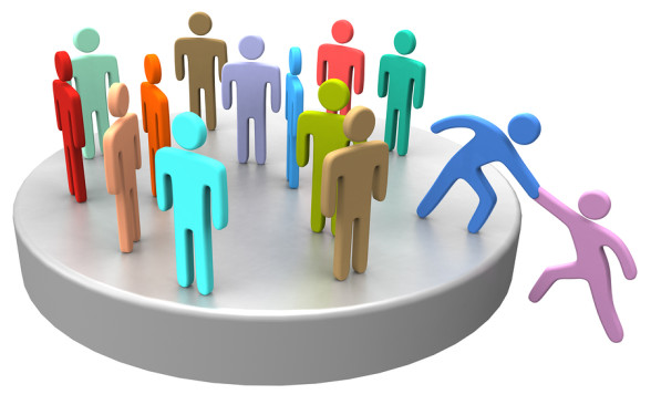 Helping hand to new member or hire join up with large social gro
