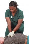 Medical technician doing CPR