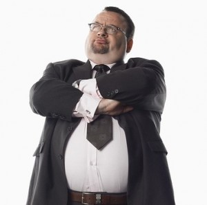 pouting Overweight businessman folded arms