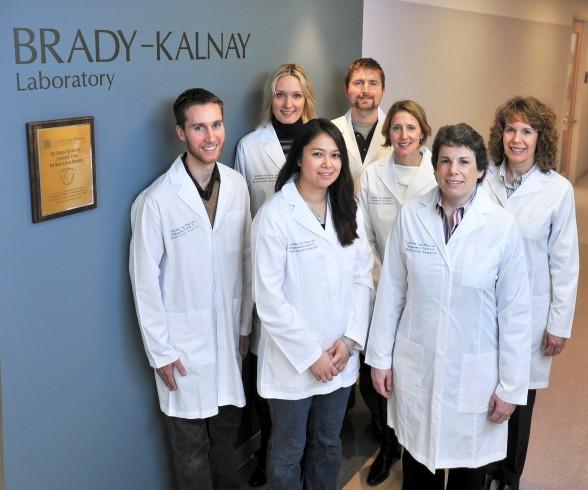 Members in the Brady-Kalnay lab: from left-to right: front row, Adam Burgoyne, Sara Lou and Brady-Klanay; second row, Samantha Oblander Polly Phillips-Mason and Susan Burden-Gulley; and in back, Scott Becka.