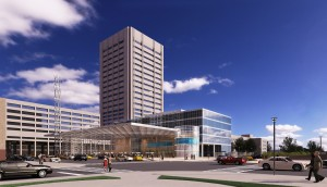 Conceptual drawing of medical mart and convention center - at least for now