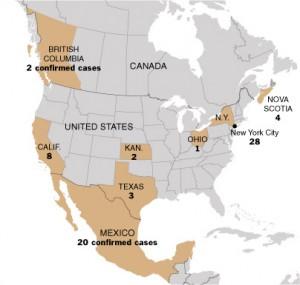 New York Times swine flu map